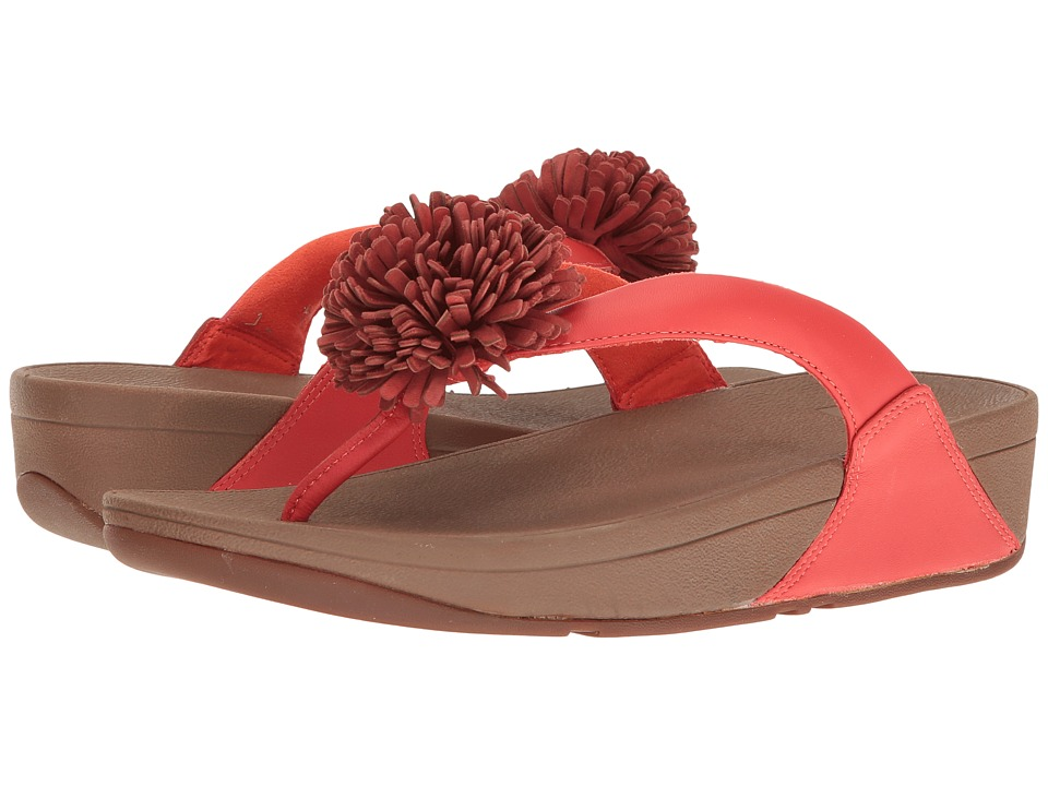 FitFlop Flowerball Leather Toe Post (Flame) Women