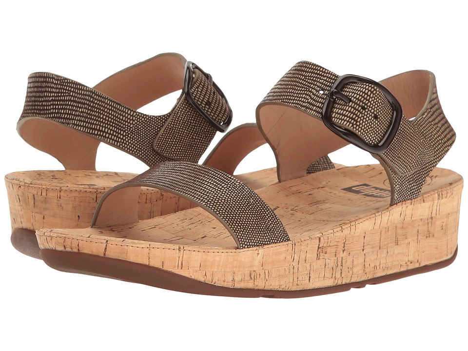 FitFlop - Bon Lizard Print Sandal (Chocolate Brown) Women's Shoes