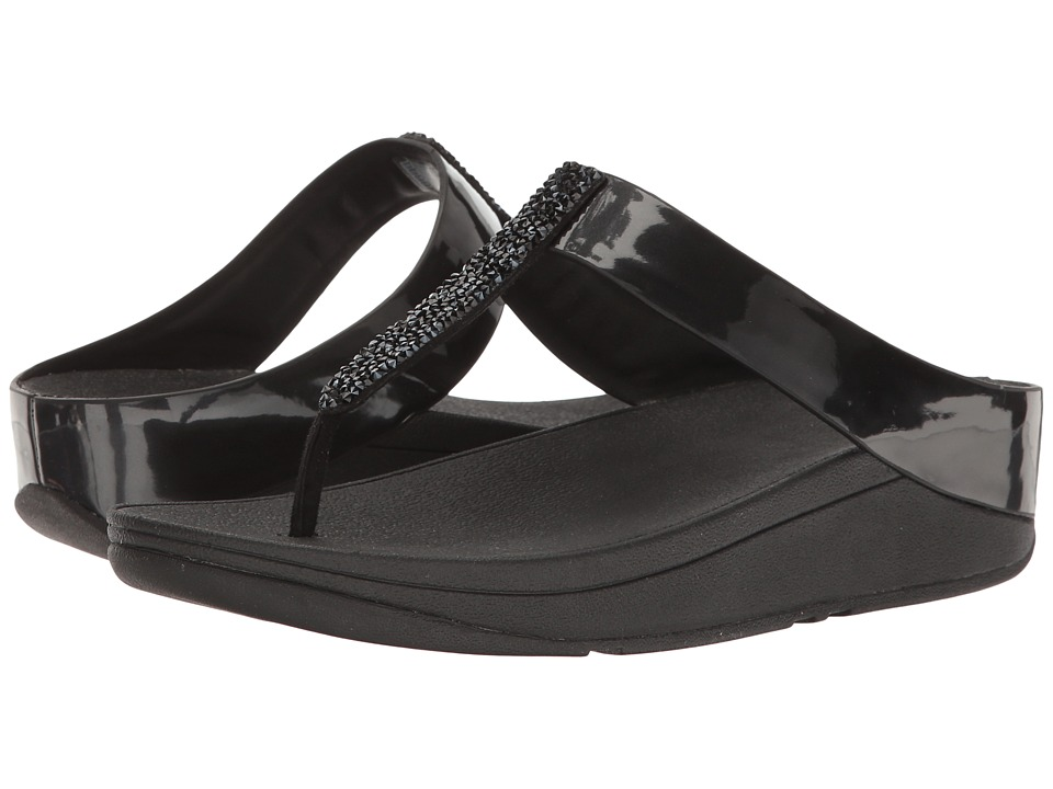 FitFlop - Fino Toe Post (Black) Women's Shoes