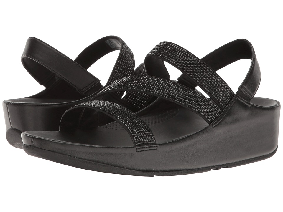 FitFlop - Crystall Z-Strap Sandal (Black) Women's Shoes