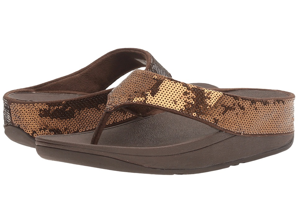 FitFlop - Ringer Sequin Toe Post (Bronze) Women's Shoes
