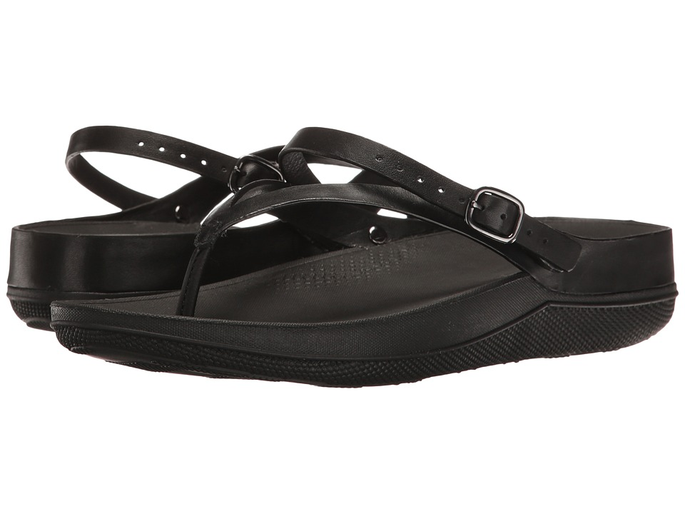FitFlop - Flip Leather Sandals (All Black) Women's Shoes