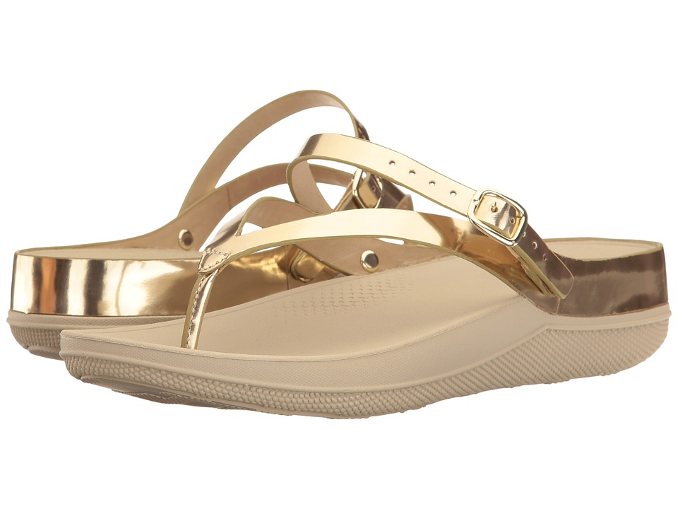 FitFlop - Flip Leather Sandals (Gold Mirror) Women's Shoes