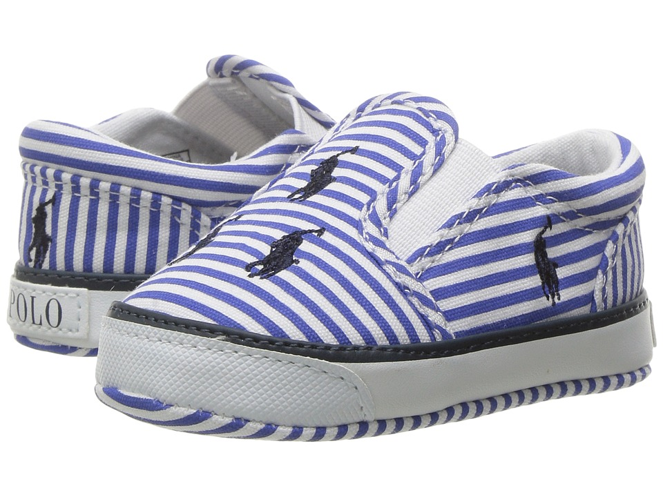 Polo Ralph Lauren Kids - Bal Harbour Repeat (Infant/Toddler) (Blue Stripe Poplin/Navy) Kid's Shoes