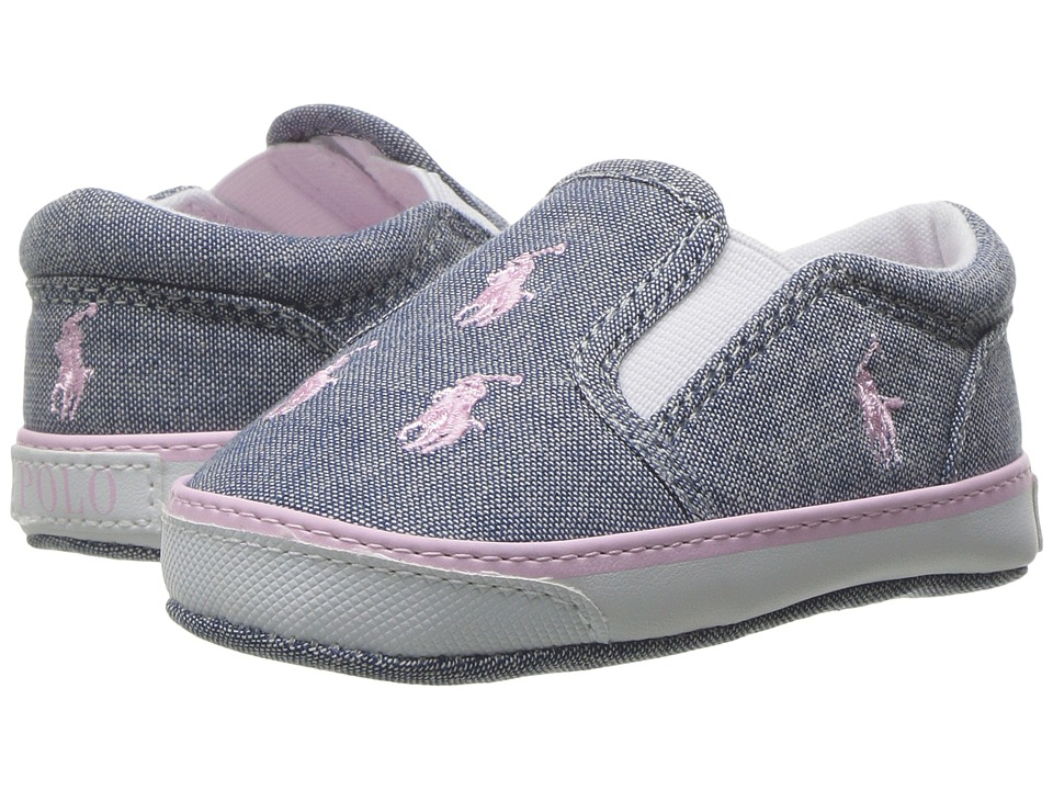 Polo Ralph Lauren Kids - Bal Harbour Repeat (Infant/Toddler) (Light Blue Chambray/Pink) Girl's Shoes