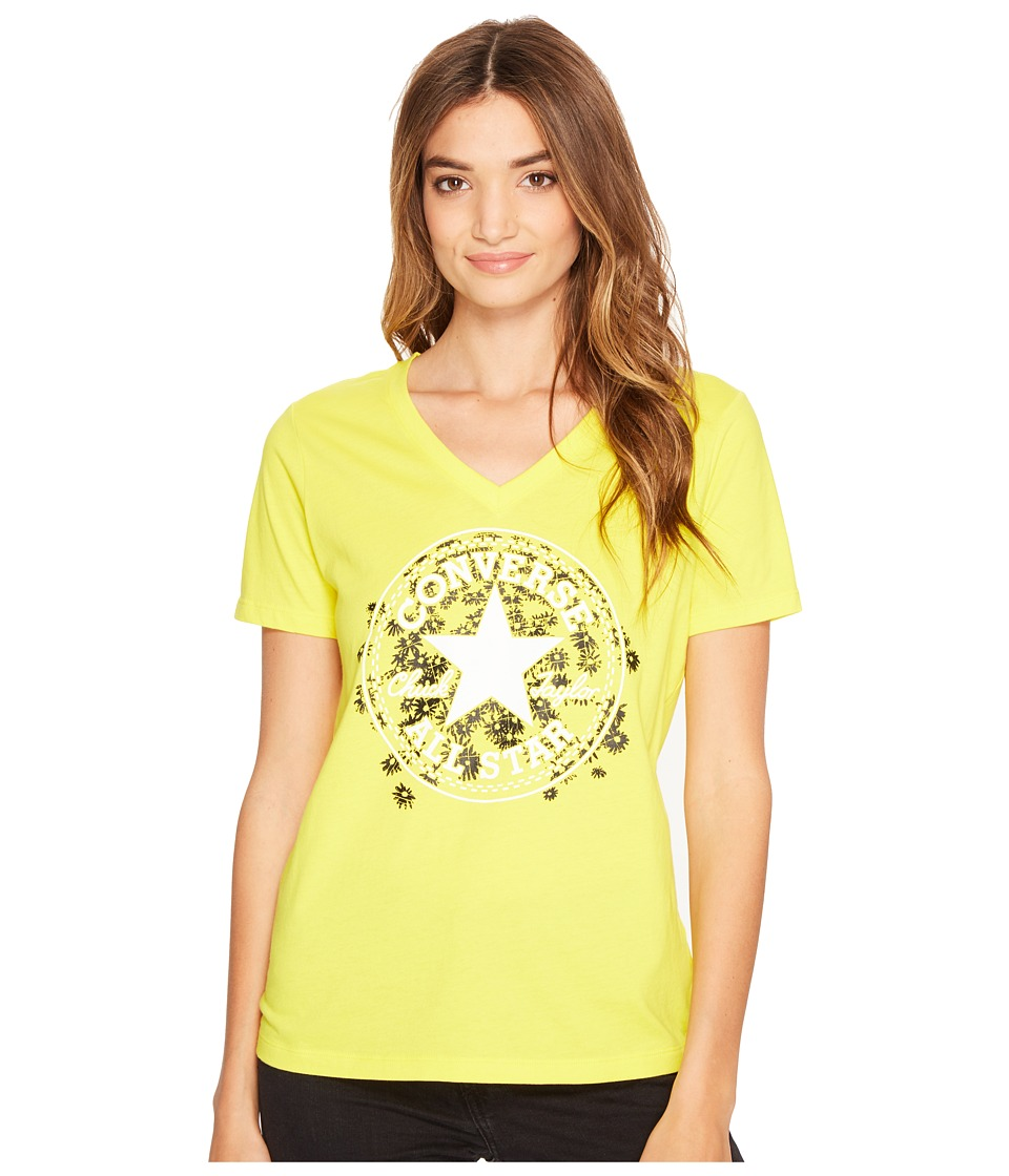 Converse - Daisy Chuck Patch V-Neck Short Sleeve Tee (Fresh Yellow) Women's T Shirt