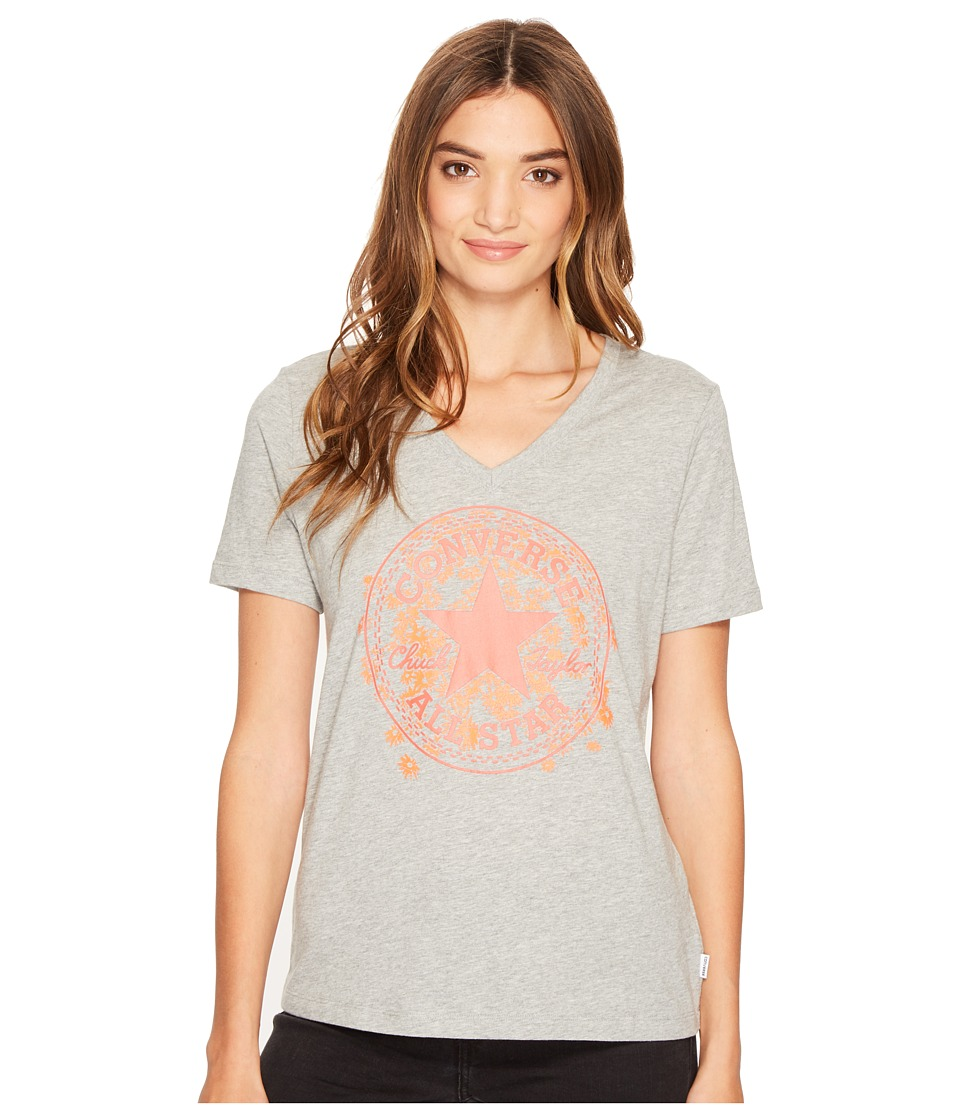 Converse - Daisy Chuck Patch V-Neck Short Sleeve Tee (Vintage Grey Heather) Women's T Shirt