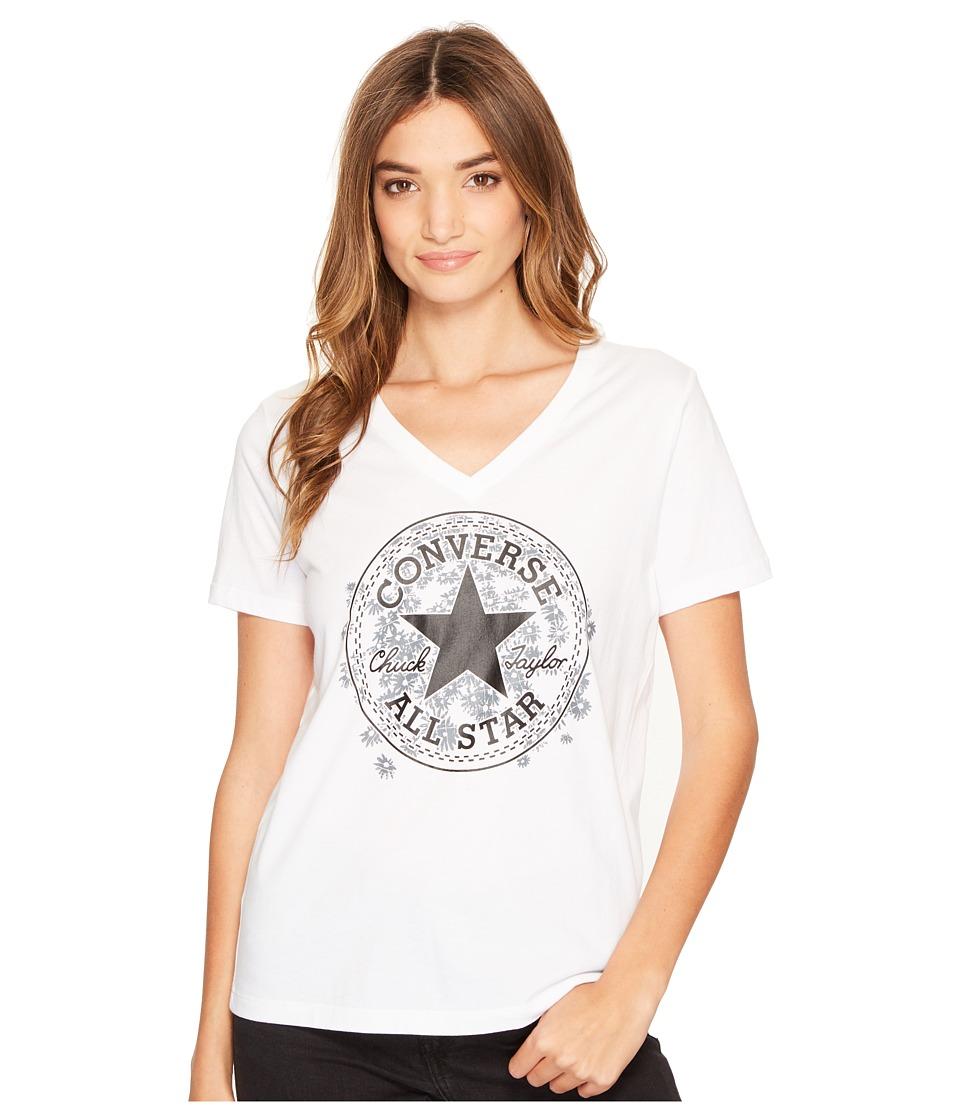 Converse - Daisy Chuck Patch V-Neck Short Sleeve Tee (White) Women's T Shirt