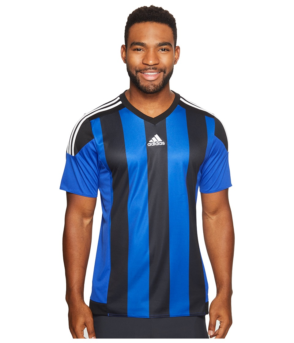 adidas - Striped 15 Jersey (Bold Blue/Black/White) Men's Short Sleeve Pullover