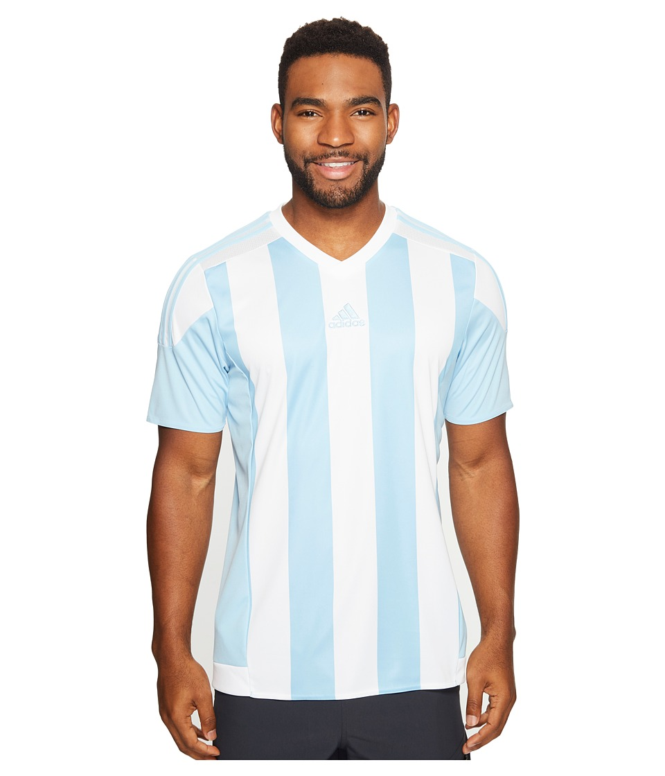 adidas - Striped 15 Jersey (Clear Blue/White) Men's Short Sleeve Pullover