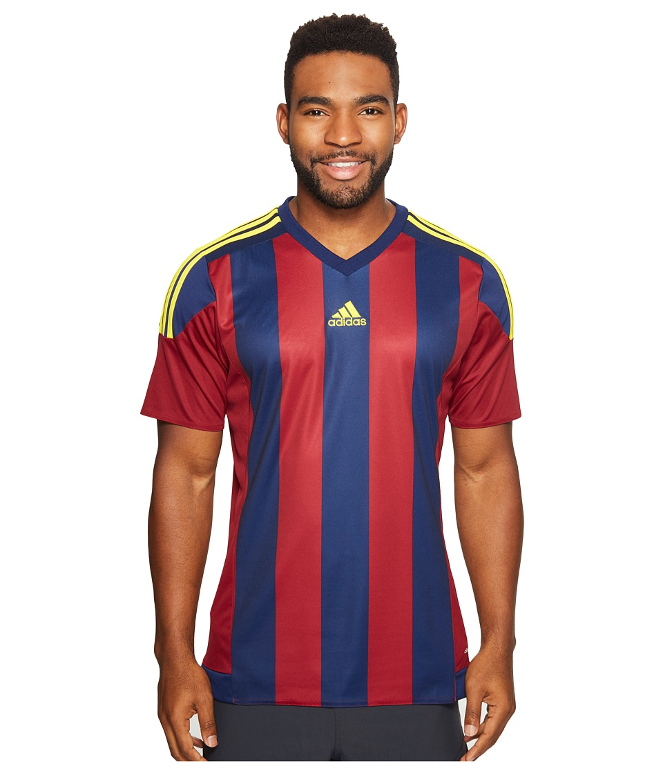 adidas - Striped 15 Jersey (Collegiate Burgundy/Dark Blue/Yellow) Men's Short Sleeve Pullover