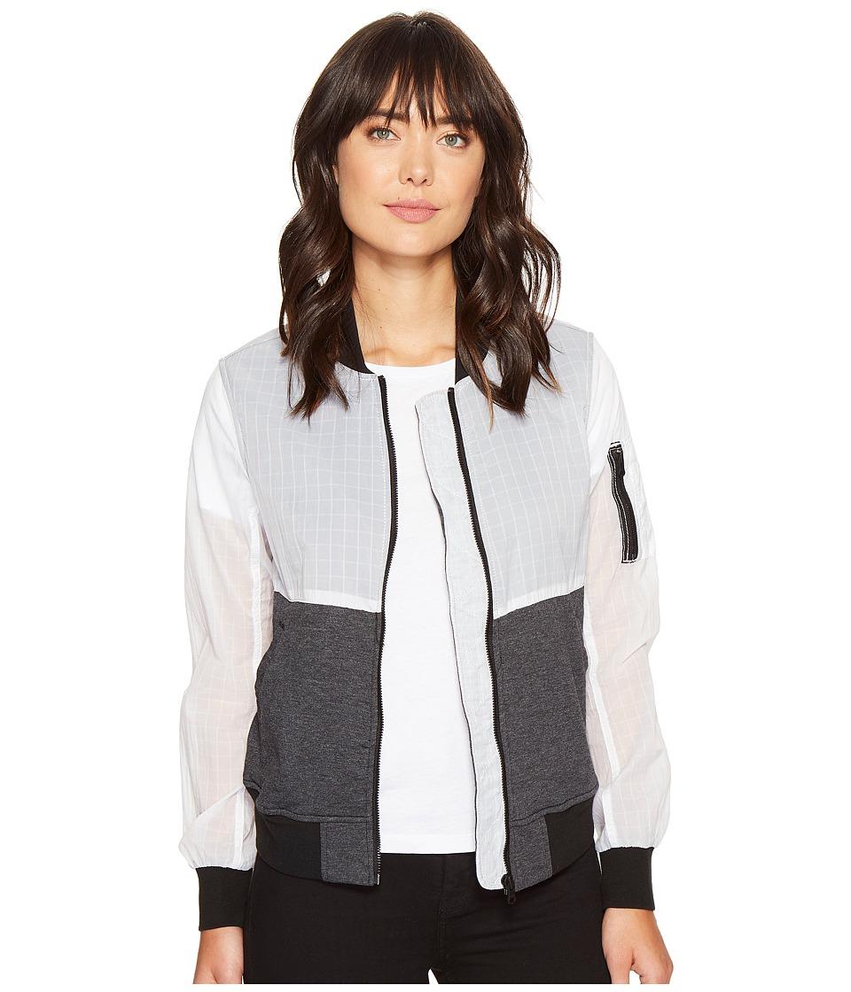 Converse - Knit/Woven MA-1 Bomber Jacket (White/Black) Women's Coat