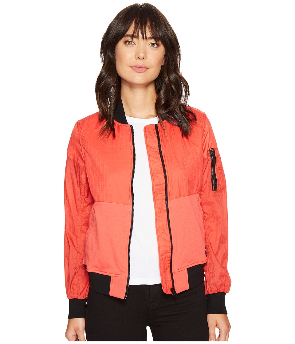 Converse - Knit/Woven MA-1 Bomber Jacket (Ultra Red) Women's Coat