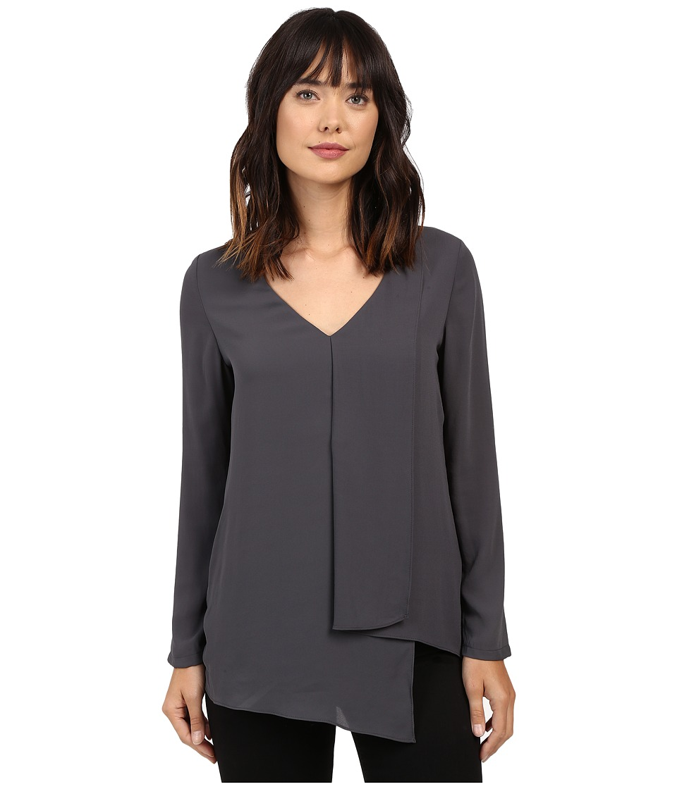 Karen Kane - Long Sleeve Draped Angle Top (Slate) Women's Clothing