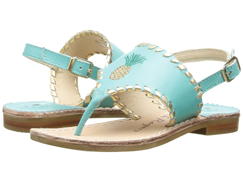 Jack Rogers - Little Miss Pineapple (Toddler/Little Kid) (Caribbean Blue/Gold) Women's Sandals