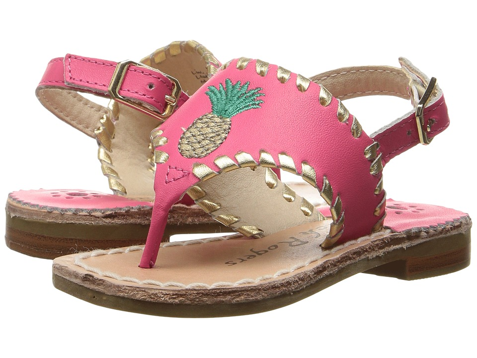 Jack Rogers - Little Miss Pineapple (Toddler/Little Kid) (Bright Pink/Gold) Women's Sandals