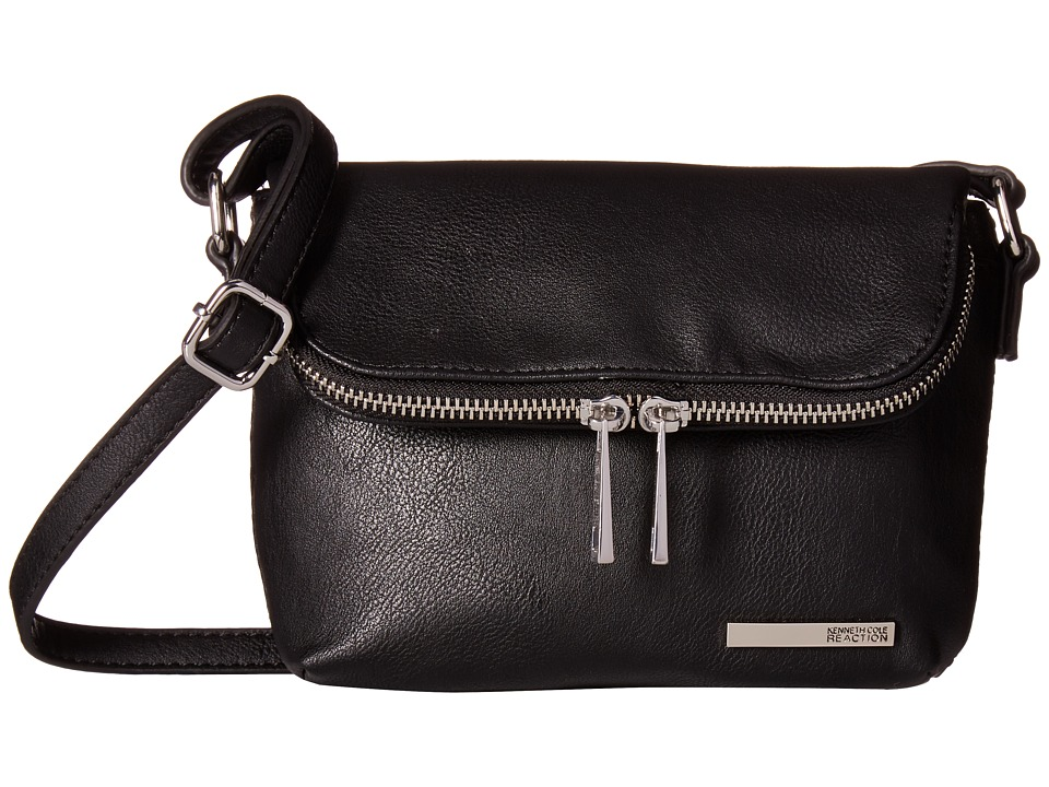 Kenneth Cole Reaction - Wooster Fold-Over Flap Mini Bag (Black) Cross Body Handbags