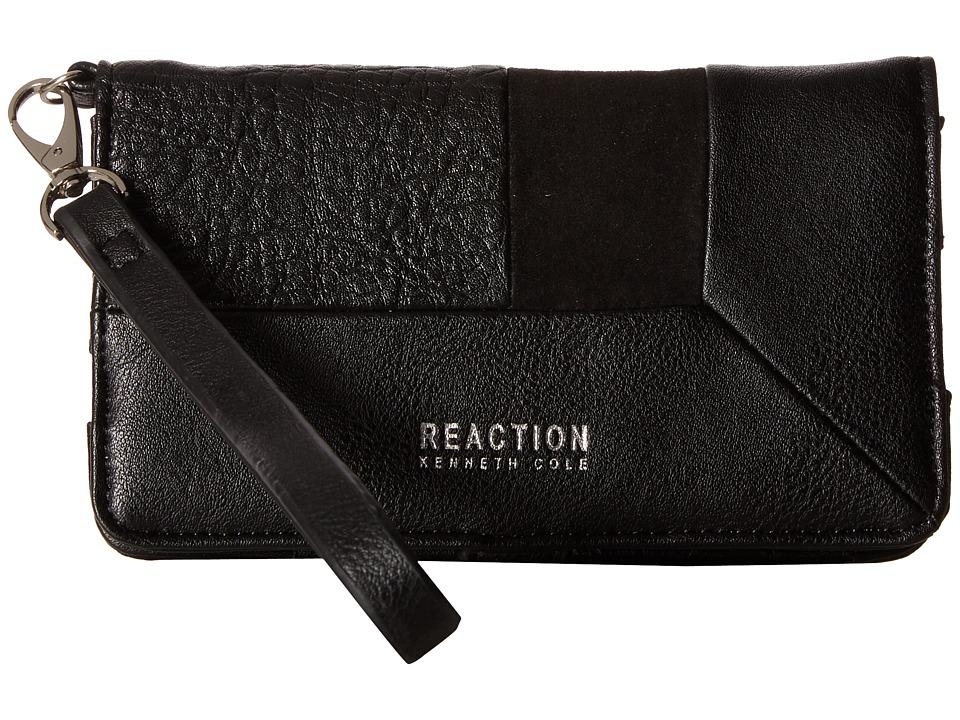 Kenneth Cole Reaction - Off Center Tech Phone Wristlet w/ RFID (Black) Wristlet Handbags
