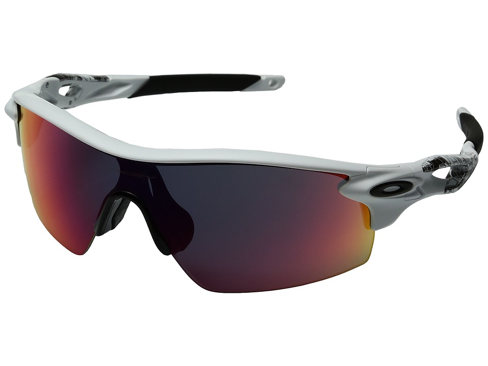 Oakley - Radarlock Pitch (Matte White Textured/+Red) Sport Sunglasses
