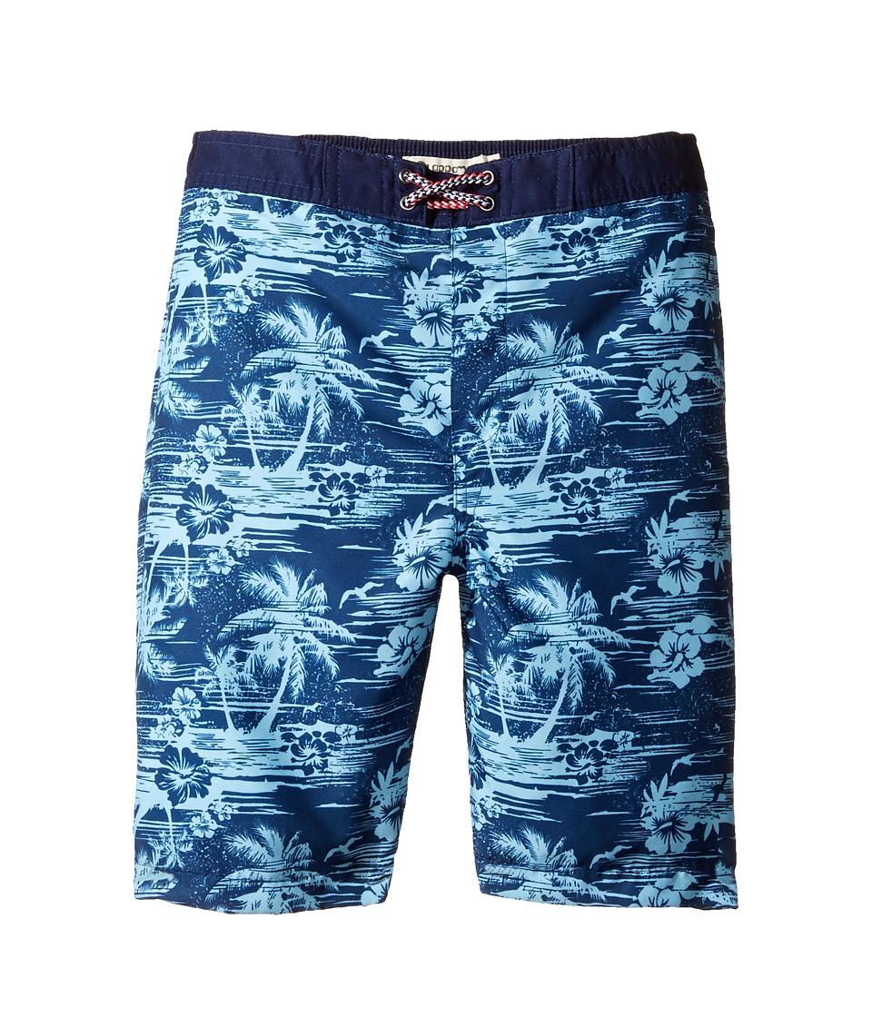 Appaman Kids Hawaiian Plam Tree Swim Trunks (Toddler/Little Kids/Big Kids) (Navy Blue) Boy