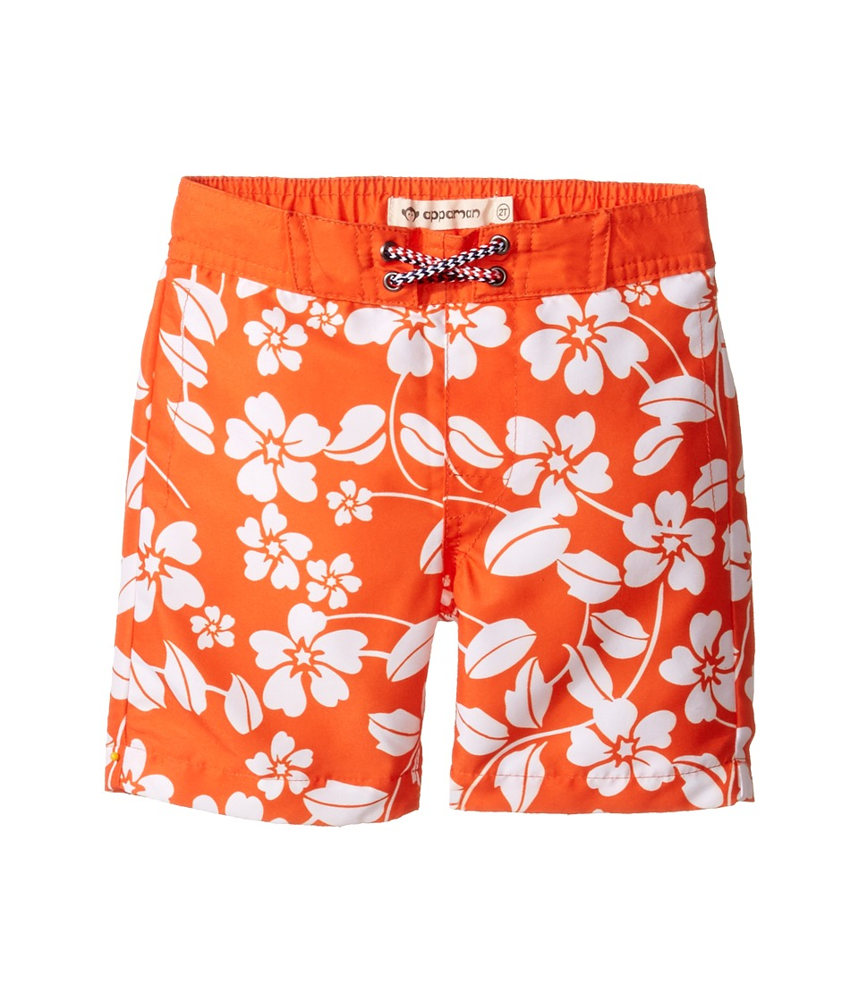 Appaman Kids - Island Floral Swim Trunks (Toddler/Little Kids/Big Kids) (Orange) Boy's Swimwear