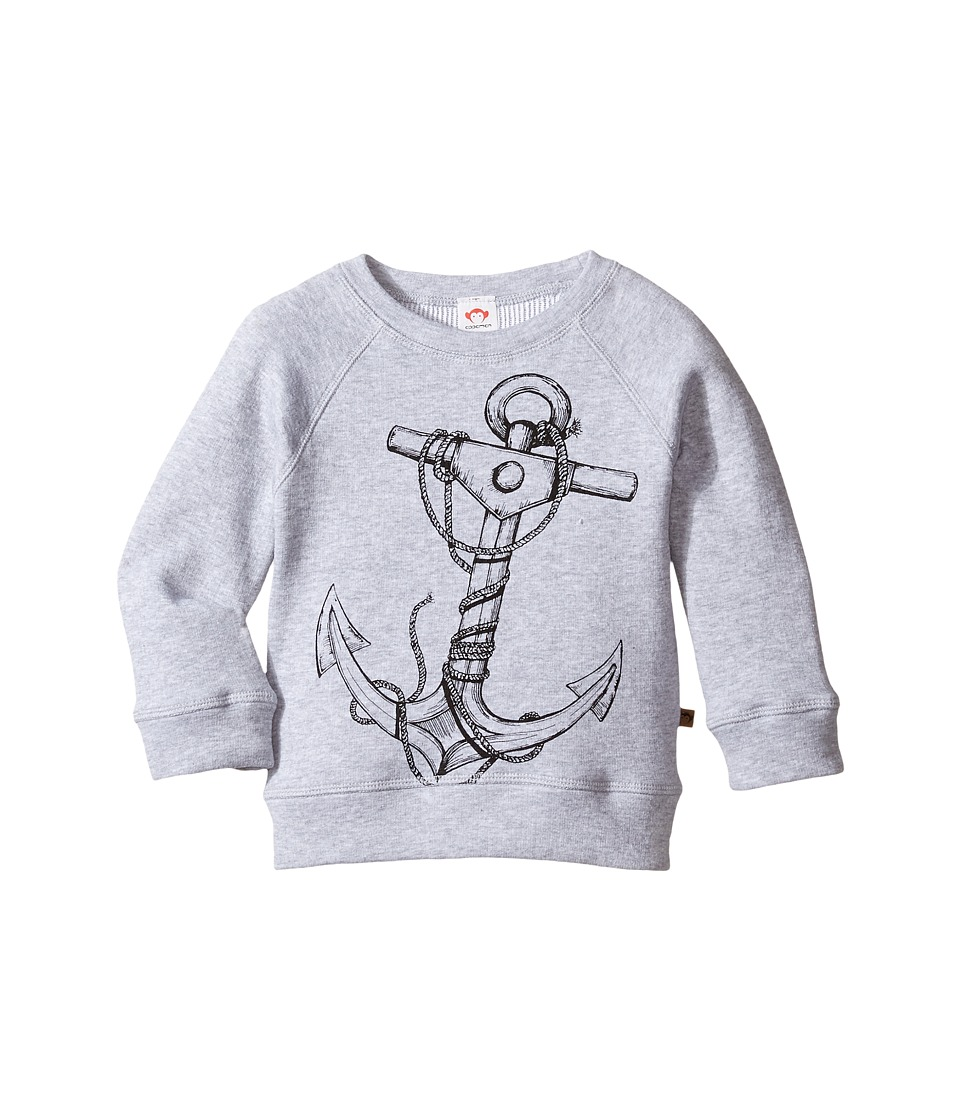 Appaman Kids - Super Soft Reversible Sweatshirt w/ Anchor (Toddler/Little Kids/Big Kids) (Light Grey Heather) Boy's Sweatshirt