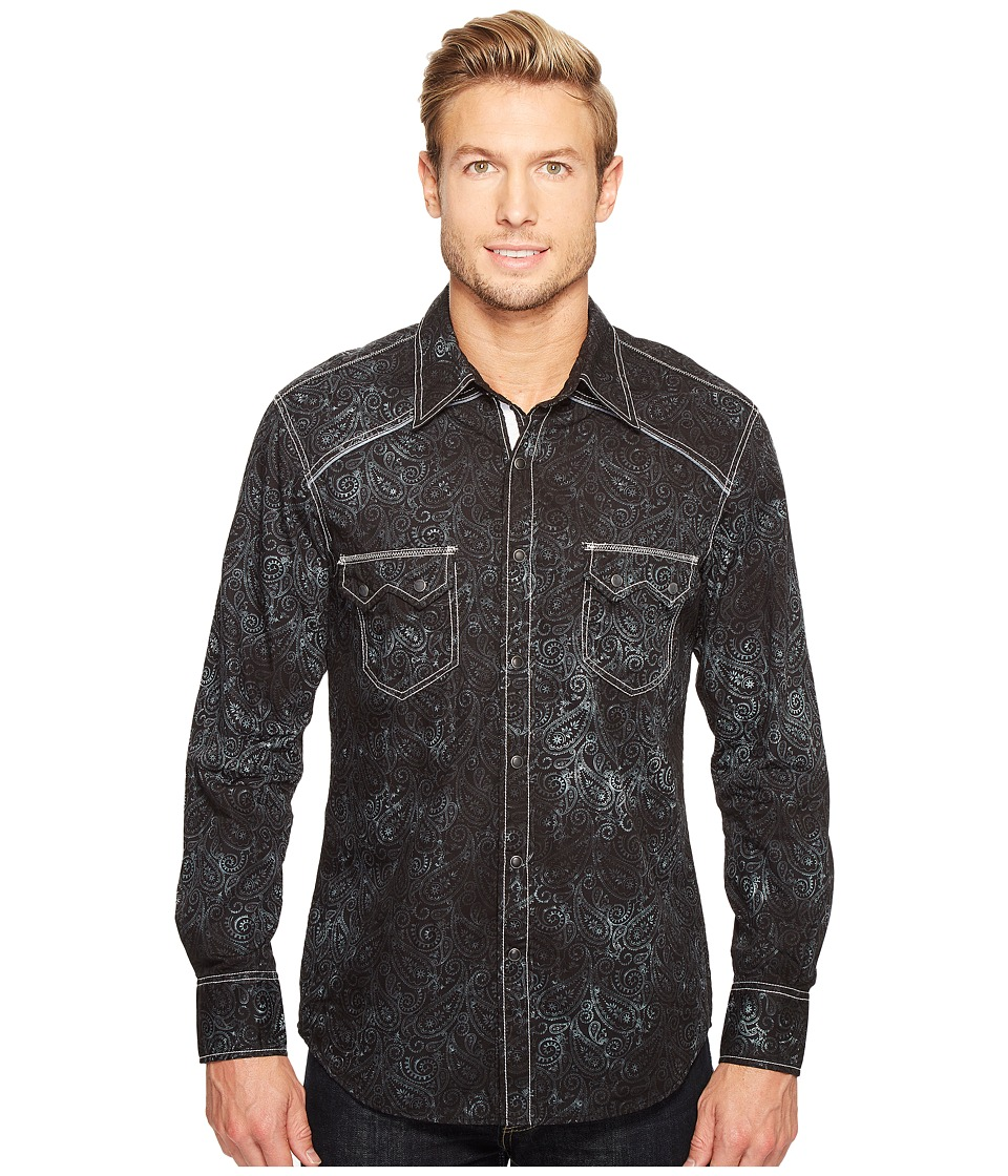 Rock and Roll Cowboy - Long Sleeve Snap B2S1260 (Black) Men's Clothing