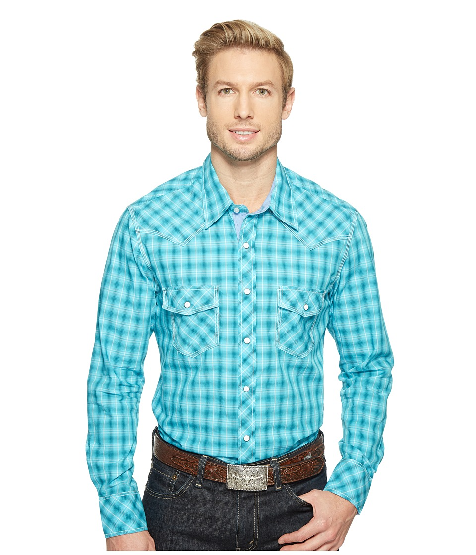 Rock and Roll Cowboy - Long Sleeve Snap B2S1249 (Turquoise) Men's Clothing