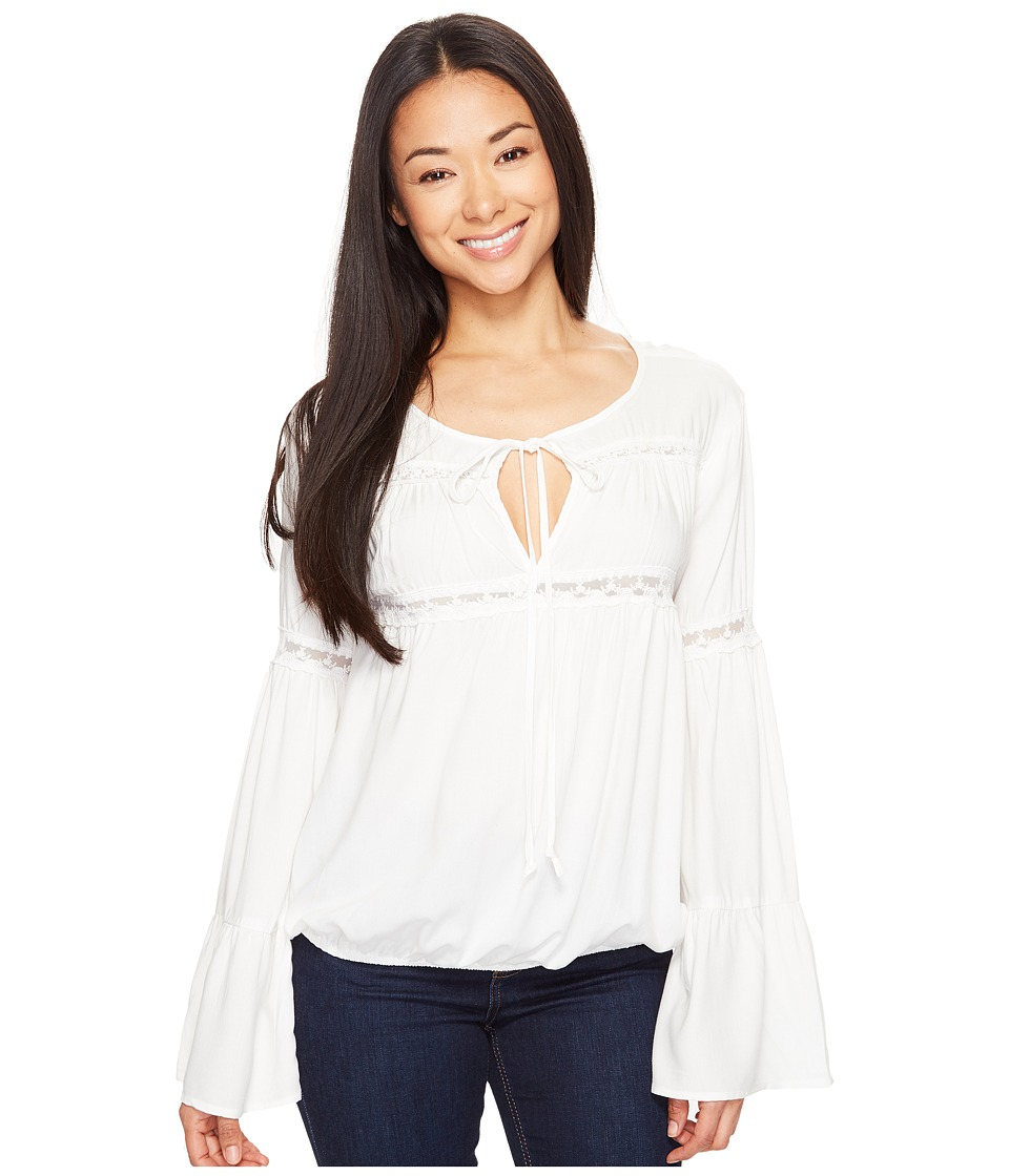 Rock and Roll Cowgirl - Bell Sleeve B4-1301 (White) Women's Clothing