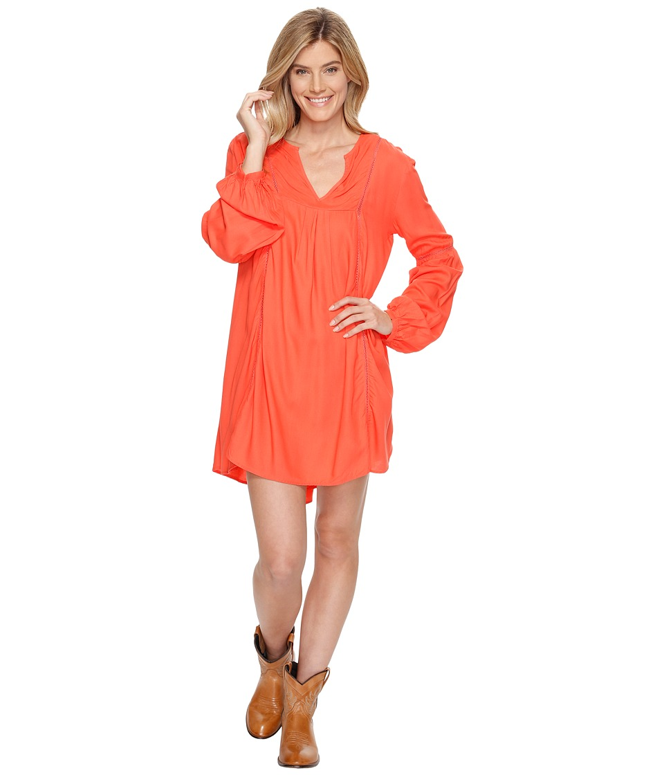 Rock and Roll Cowgirl - Long Sleeve Dress D4-1222 (Coral) Women's Dress