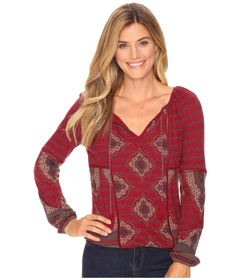 Lucky Brand - Placed Print Top (Wild Currant Multi) Women's Clothing