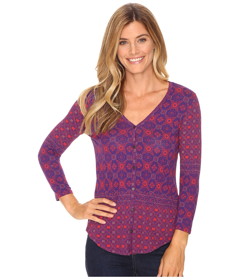 Lucky Brand - Placed Print Top (Rasberry Multi) Women's Clothing