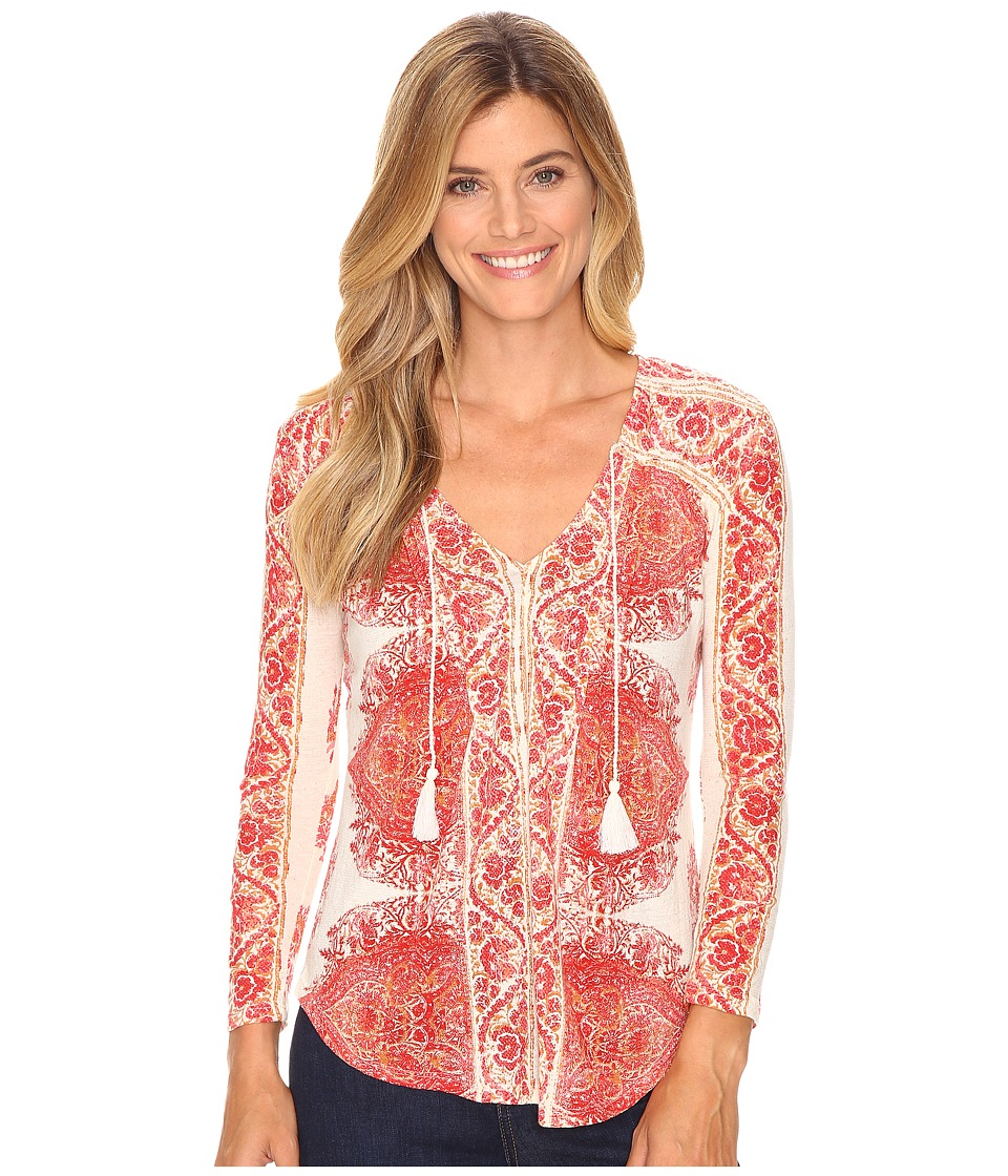Lucky Brand - Placed Print Top (Red Multi) Women's Clothing