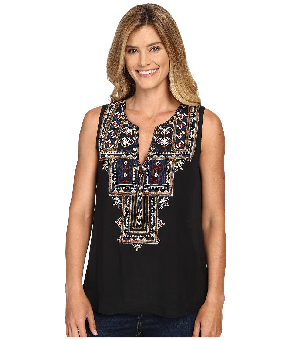Lucky Brand - Embroidered Top (Black) Women's Clothing