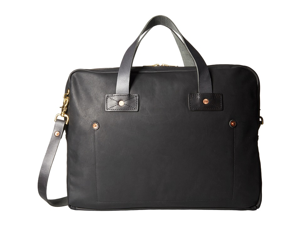 Billy Reid Worn Leather Messenger Bag (Black) Messenger Bags