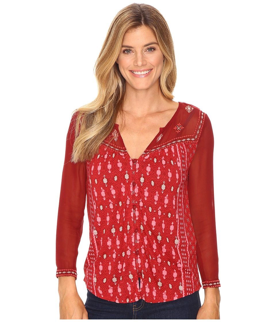 Lucky Brand - Border Print Top (Red Multi) Women's Clothing
