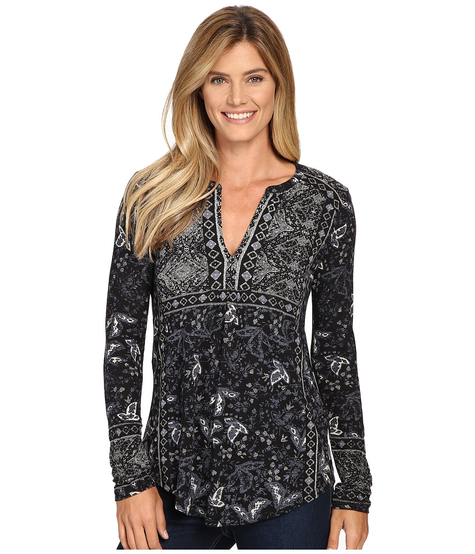 Lucky Brand - Border Print Top (Black Multi) Women's Clothing
