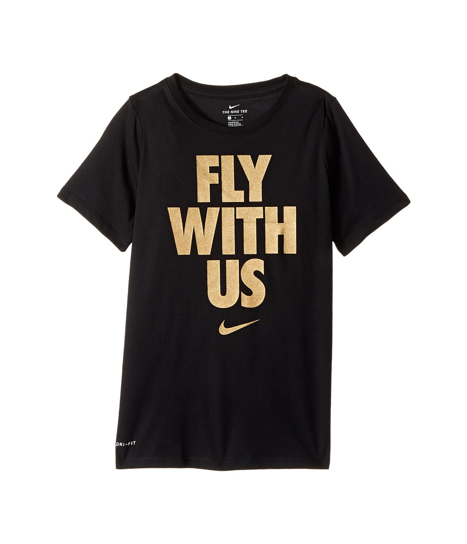 Nike Kids - Dry Fly With Us Short Sleeve Tee (Little Kids/Big Kids) (Black/Metallic Gold) Boy's T Shirt