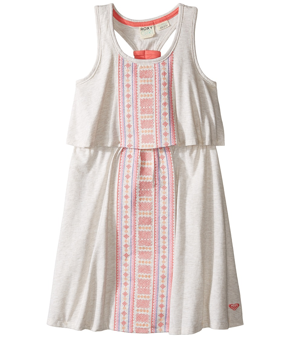 Roxy Kids - Slub Jersey Dress w/ Embroidery (Little Kids/Big Kids) (Metro Heather) Girl's Dress
