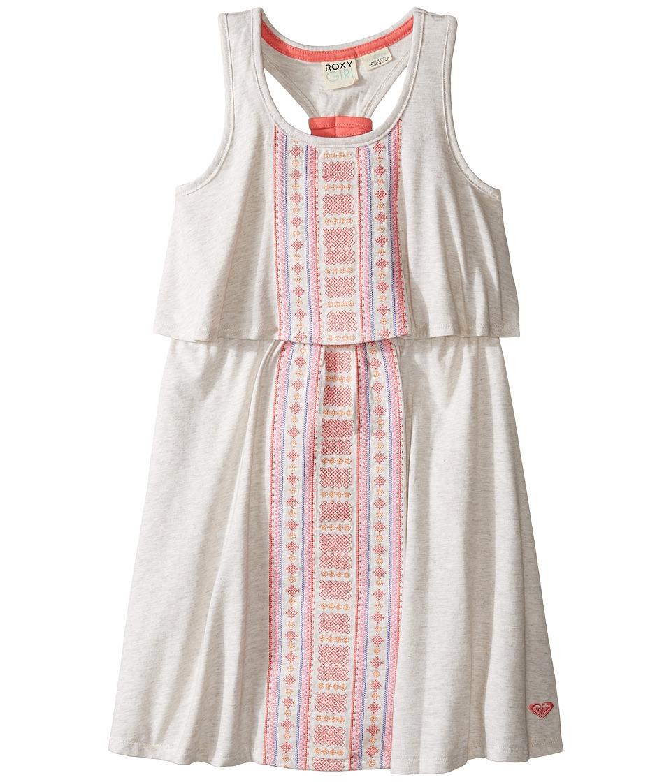 Roxy Kids - Slub Jersey Dress w/ Embroidery (Little Kids/Big Kids) (Metro Heather) Girl's Dress