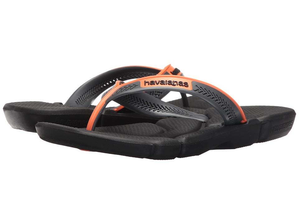 Havaianas - Power Flip Flops (Black/Neon Orange) Men's Sandals