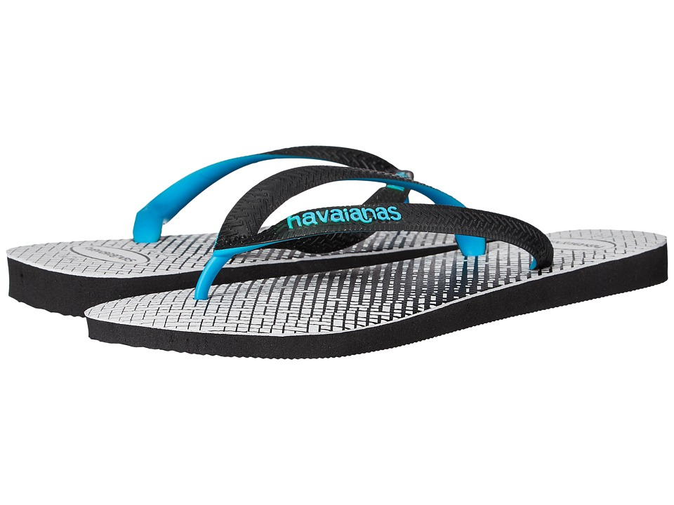 Havaianas - Top Optical Zig Zag Sandal (Black/White) Men's Sandals