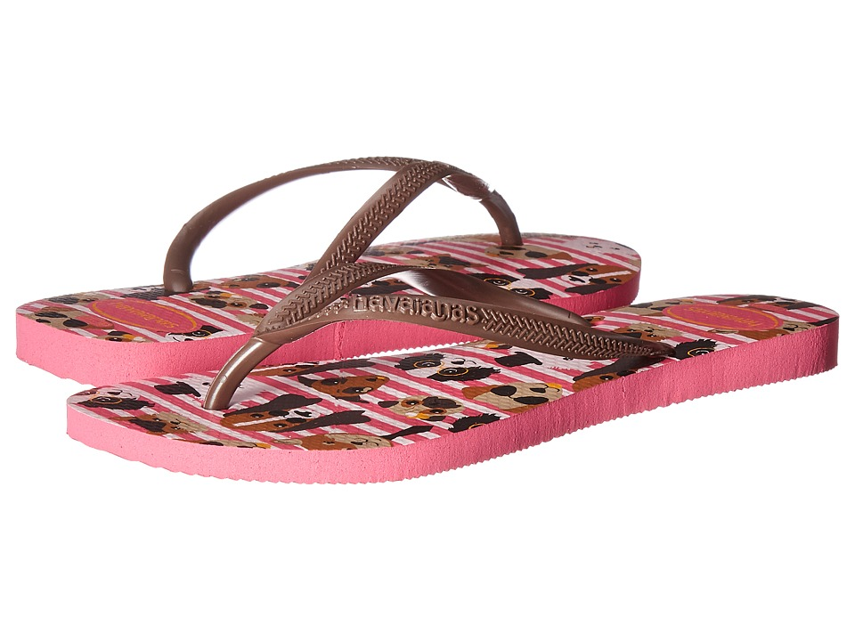 Havaianas Slim Pets Flip-Flops (Shocking Pink) Women