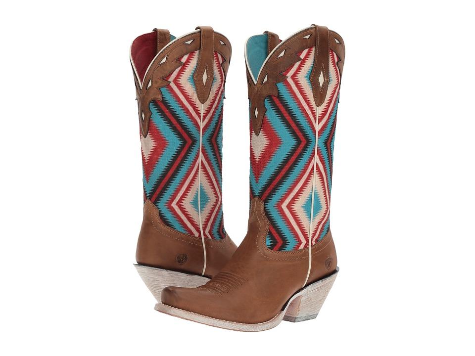 Ariat - Circuit Cheyenne (Ranch Tan/Sky Blue Aztec Print) Cowboy Boots