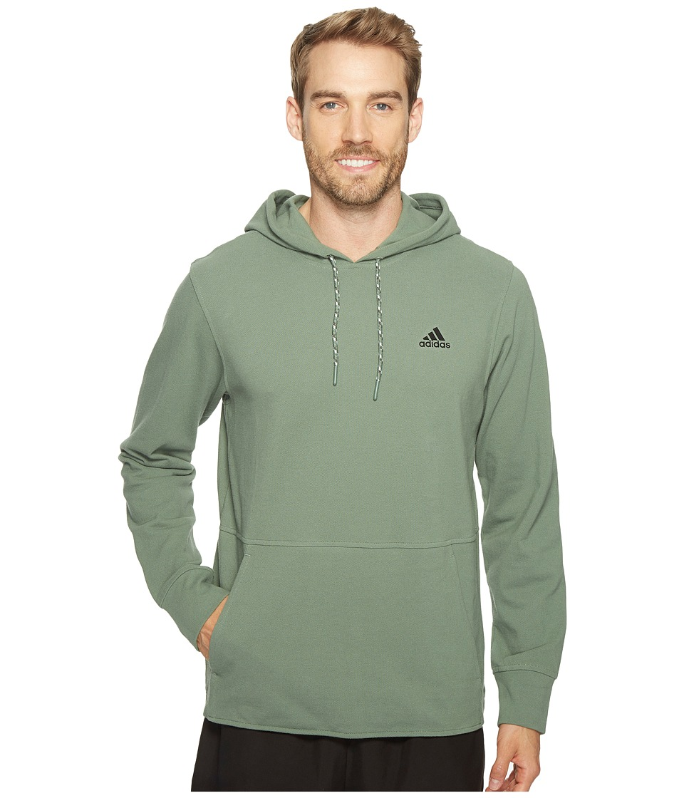 adidas - Essentials Heather Piqu Pullover Hoodie (Trace Green) Men's Sweatshirt