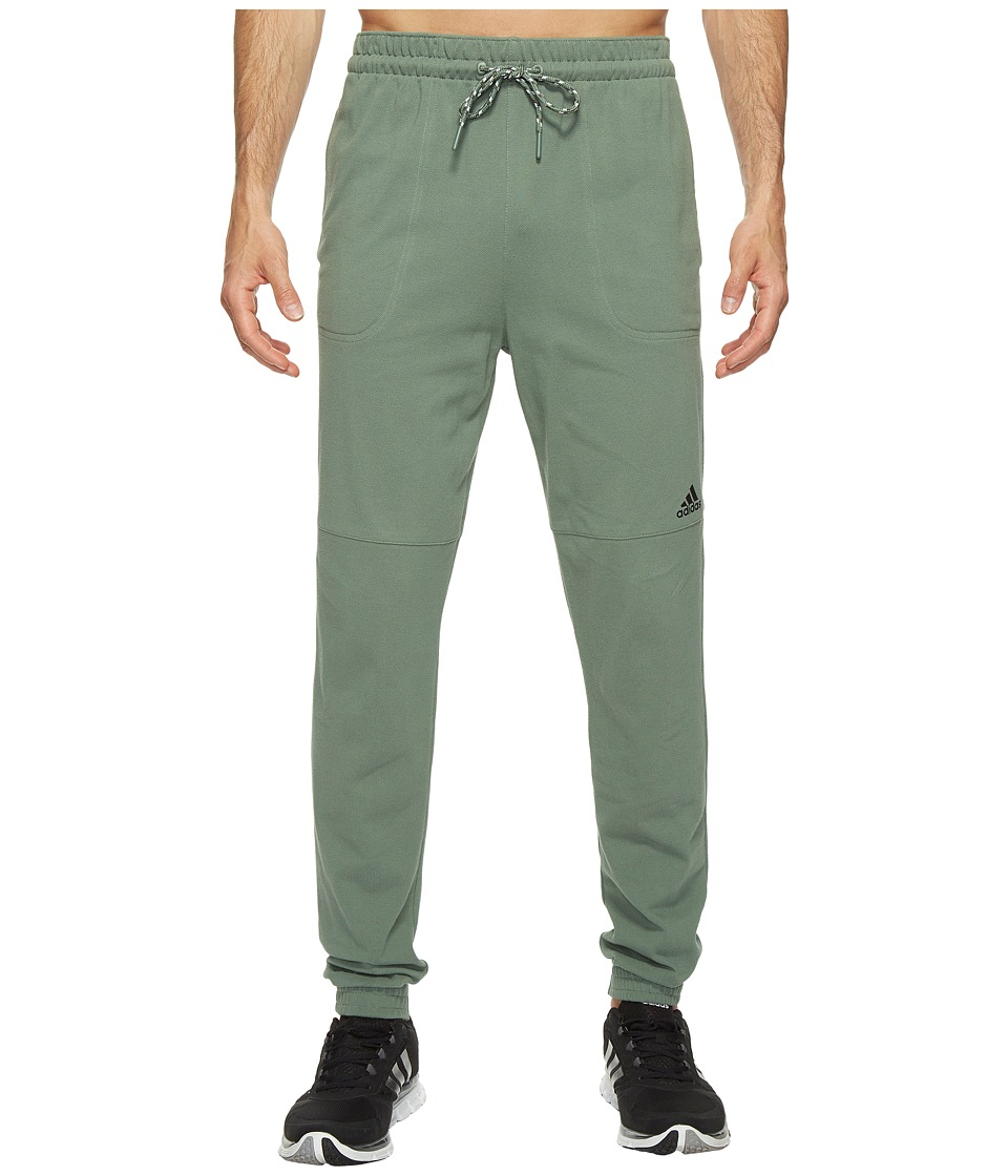 adidas - Essentials Heathered Piqu Pants (Trace Green) Men's Workout