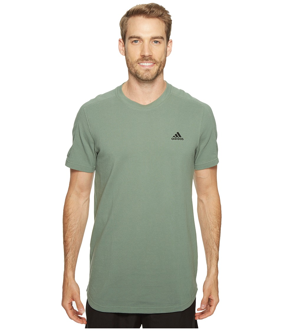 adidas - Essentials Heathered Piqu Tee (Trace Green) Men's T Shirt