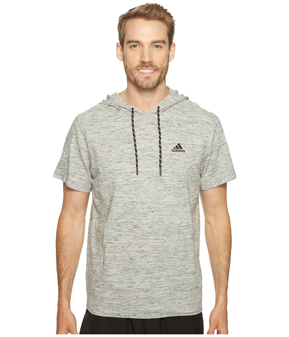 adidas - Essentials Heathered Piqu Short Sleeve Hoodie (Medium Grey Heather) Men's Sweatshirt