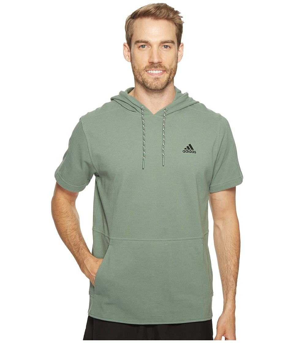 adidas - Essentials Heathered Piqu Short Sleeve Hoodie (Trace Green) Men's Sweatshirt