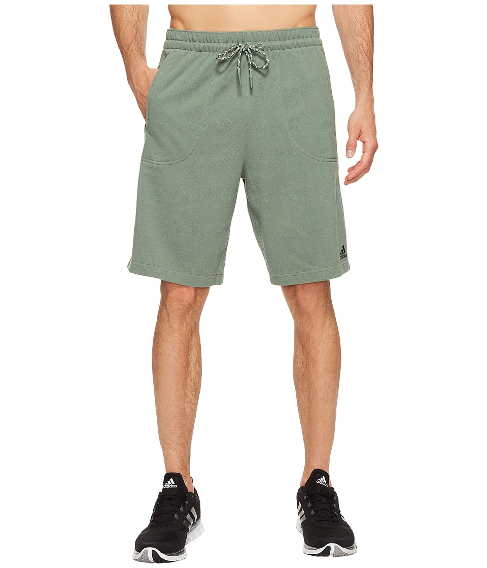 adidas - Essentials Heathered Piqu Shorts (Trace Green) Men's Shorts
